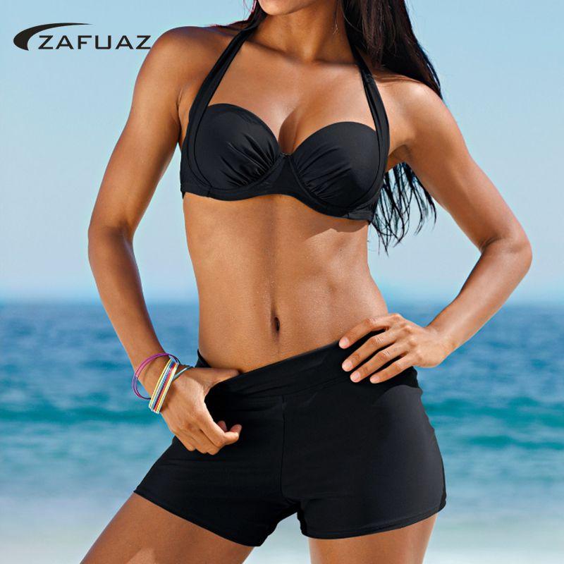 2019 New Sexy Women Halter Tankini Swimwear Two Piece Plus Size Swimsuit Shorts Push Up Female High Waist Bathing Suit Beachwear