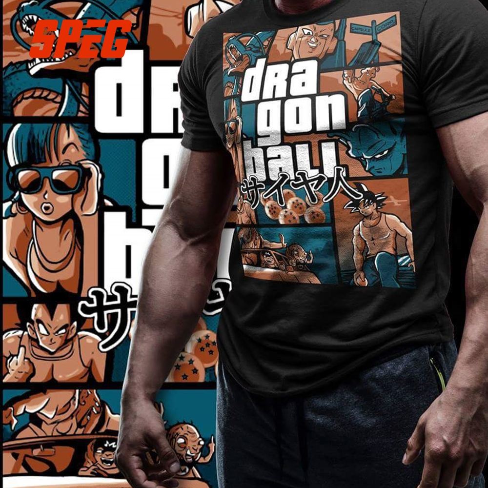 Grand Theft Dragon Ball Z GTA T Shirt Super Saiyan Men 100% Cotton Clothing Short Sleeve Tees Cool Street T-Shirt Plus Size 4XL