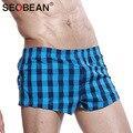 Homens troncos seobean marca mens underwear boxer shorts de algodão 2017 nova moda desgaste casa gay pênis dos homens novos shorts gap bolsa