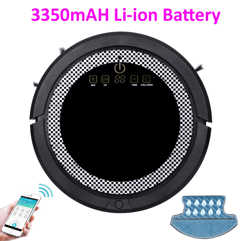 No custom tax For SG,KR,TH Buyer WiFi Smartphone App Control Wet And Dry Mini Vacuum Cleaner Robot With 3350mAH Lion Battery