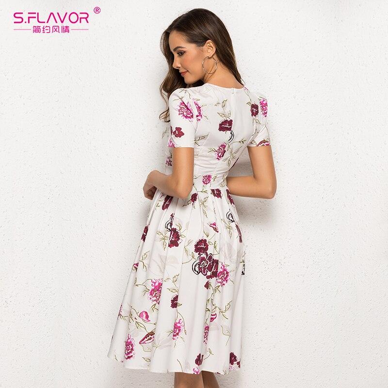 S.FLAVOR Simple Printing Dress Vintage Style Women O-neck Short Sleeve A-line Dress Slim Retro Vestidos De Female
