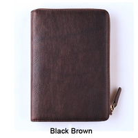A6 Genuine leather notebook travelers journal zipper binder agenda planner organizer notebook vintage diary sketchbook