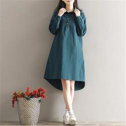 2018 New Spring Autumn Cotton Line Dress Women Vintage Literature  Long Sleeved Shirt Dresses Female Vestidos Z302 6