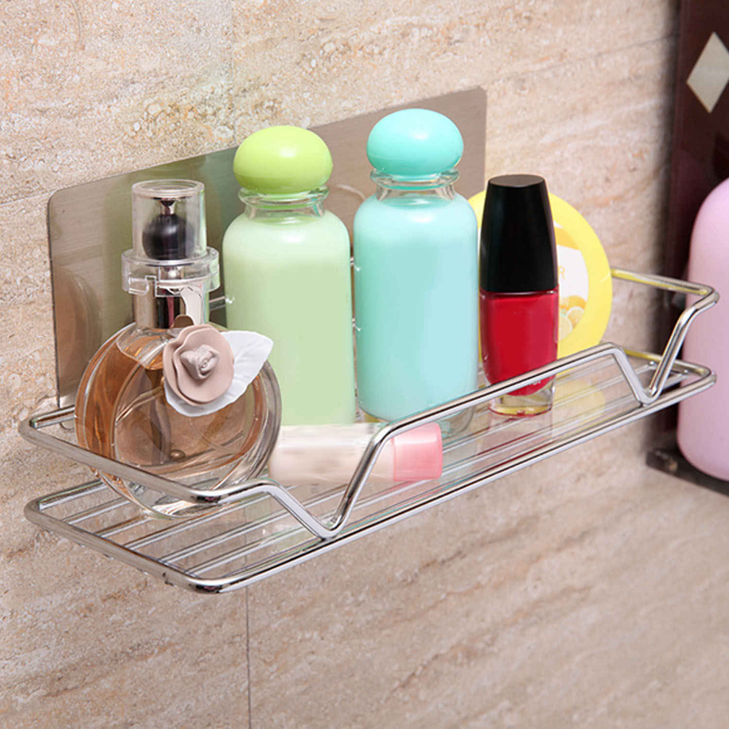 1 Pc Wall Mounted Sticky Shampoo Holder Shower Basket Strong Suction Stainless Steel Soap Cosmetic Bathroom Shelves Organizer