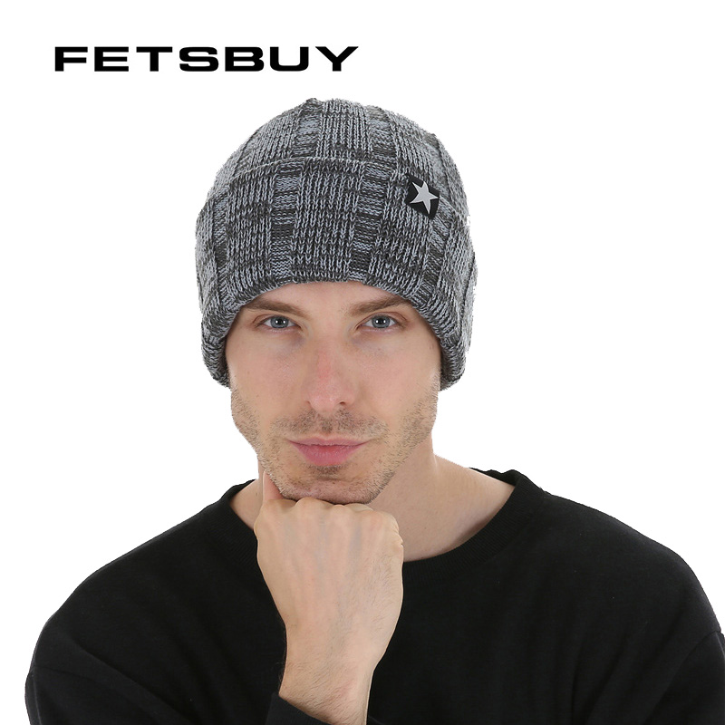 FETSBUY Men's Skullies Winter Wool Knitted Hat Male Brand Beanies Cap Casual Solid Color Sets Headgear Hats For Men #19019 skullies hot sale candy sets color pointed hat knitting hat sets hat cap 1866951