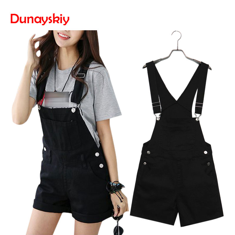 Women Summer Denim   Shorts   Overalls Casual Loose Slim Denim Candy Color Pockets Straps   Shorts