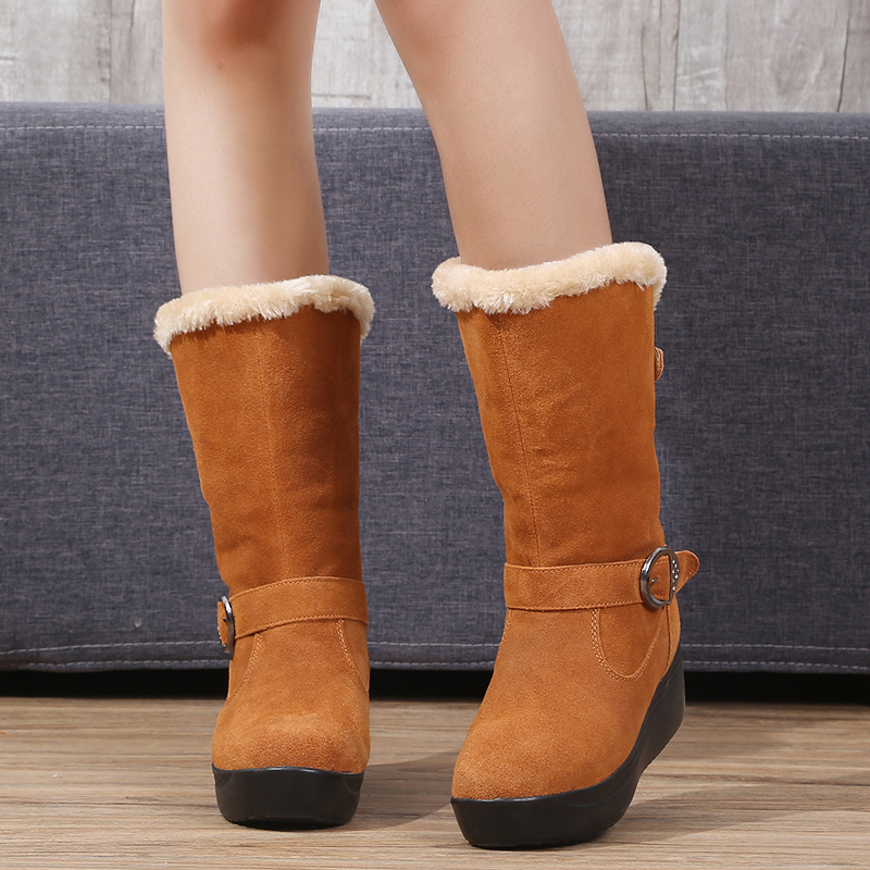 ФОТО Winter Boots Autumn Boots Genuine Leather Women Shoes Woman Snow Boots New 2016 Latest Fashion Buckle Plus Plush Within H5460