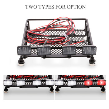 Roof Rack Luggage Carrier with Square Light Bar for 1/10 RC Crawler Axial SCX10 D90 110 Traxxas Tamiya HSP RC Car Parts image