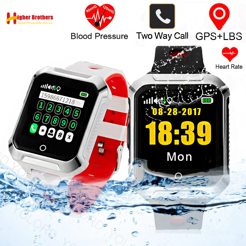 цена Smart Elderly Kids Remote Heart Rate Monitor Fall-down Alarm SOS Call Anti-lost GPS WIFI Tracking for IOS Android Phone Watch онлайн в 2017 году