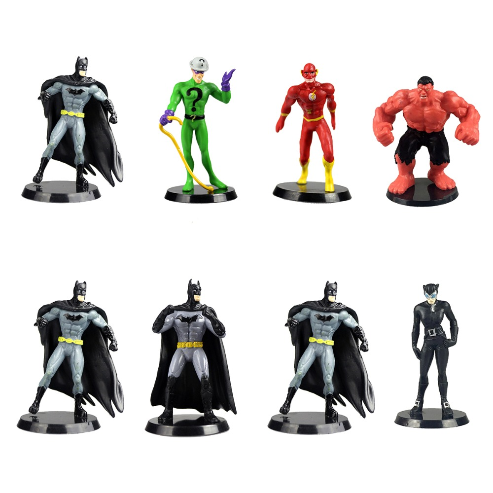 Movie 8pcs Super Hero Figures The Flash Batman Hero Catwoman Collectible Free Shipping