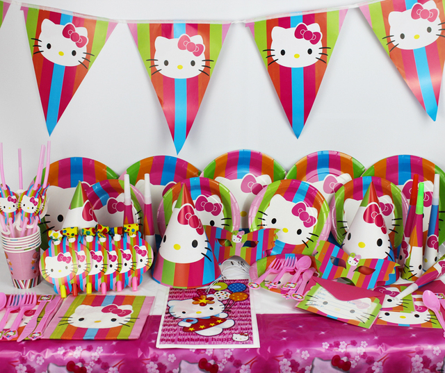 78pcs For 6 Personerl Cut Kitty Cat Theme Party Items Girls Baby Birthday Decorations Suit Event Supplies