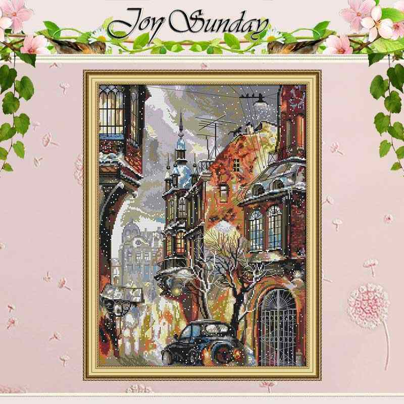 Snow in the city counted Cross Stitch 11CT 14CT Cross Stitch Set Wholesale DIY cenery Cross-stitch Kit Embroidery Needlework
