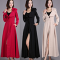 2016 Primavera e Outono Moda de Nova Mulher Trincheira de Ultra Longo Cor Sólida todo o Jogo Casaco Outwear Ocasional Elegante Fino Trincheira Feminino
