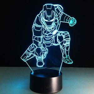 Ironman Mark Action Figure 3D Led Night Light Lamp Iron Man Colorful USB LED Acrylic Lighting