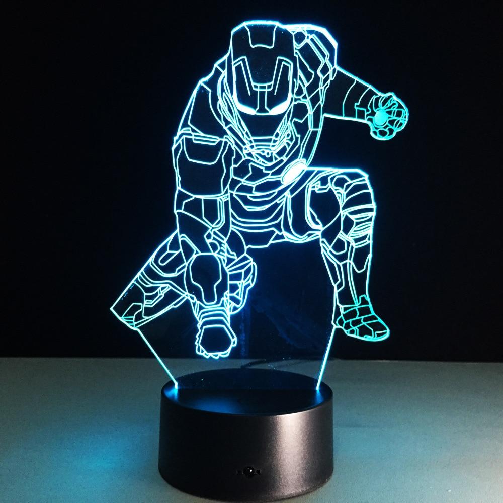 الرجل الحديدي مارك عمل الشكل 3D بقيادة مصباح ضوء الليل الرجل الحديدي ملون USB إضاءة LED الاكريليك
