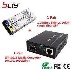 1 pair SFP optical fiber media converter 10/100/1000M 1.25G mini GBIC LC 20KM WDM SFP module single fiber BIDI SFP transceiver*2