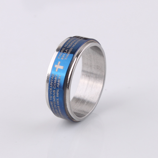 free shipping Blue 7mm cross Holy Bible Double layer Rotation 316L Stainless Steel finger rings men jewelry wholesale lots
