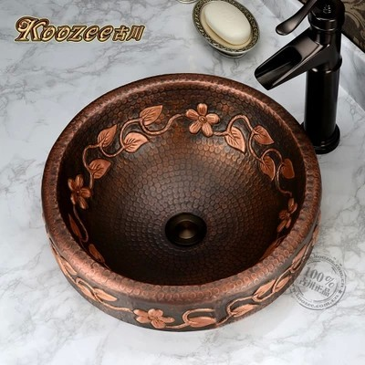 All copper basin artistic stage retro handmade flower vine circular bathroom sink