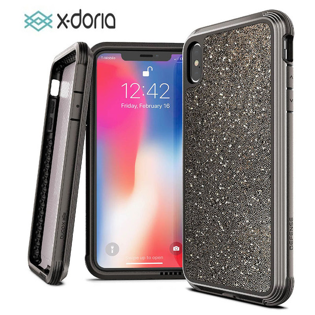 X doria etui na telefon dla iPhone XR XS Max obrony Lux klasy wojskowej spadek testowane skrzynki pokrywa dla iPhone XR XS Max brokat okładka
