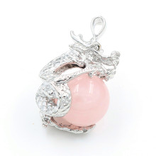 FYJS Unique Silver Plated Chinese Dragon Natural Rose Pink Quartz Round Bead Pendant Vintage Jewelry