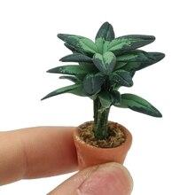 New 1 12 Scale Miniature Green Plant Pot Bonsai Fairy Garden Decor Accessories For Doll House