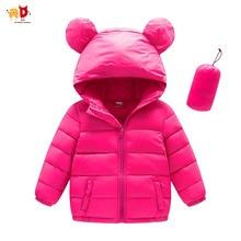 AD Cute Ear Hooded Boys Girls Winter Jacket 90% White Duck Down Kids Coat Parkas Children's Outwear Baby Boys Clothes