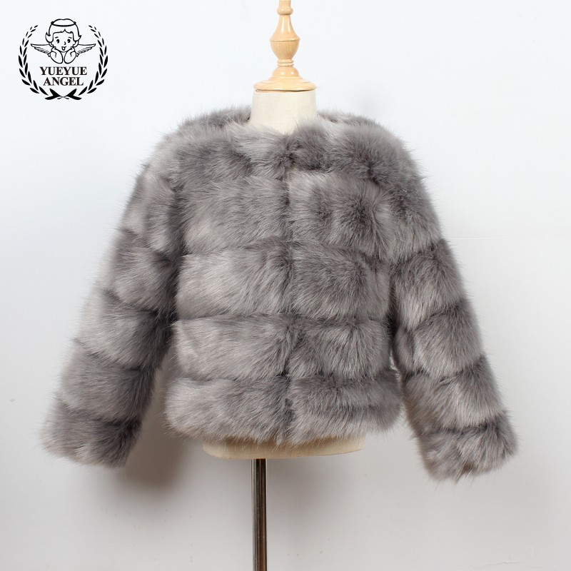 2018 New Winter Baby Girls Jacket Fashion Solid Faux Fur Childrens Coats Streetwear Slim Fit Girls Outerwear Coats 100-140CM