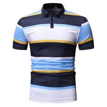 Men Polo Shirt Yellow Red Fashion Short sleeve Summer Tops Lapels Tees Stripes Polo Shirt Men Streetwear Fitness clothing polo red