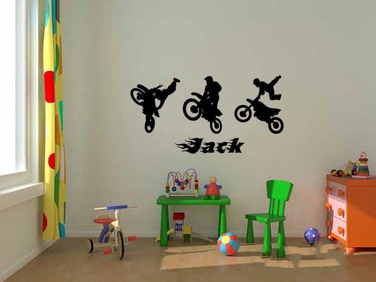 Motocross moto enfants personnalisé tout nom wall art mural décalque autocollant