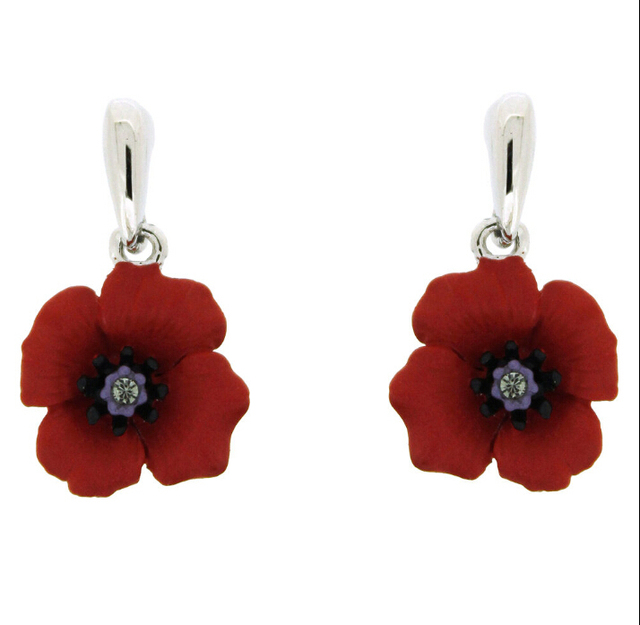 White gold tone red enamel poppy flower jewelry drop earrings uk in white gold tone red enamel poppy flower jewelry drop earrings uk mightylinksfo