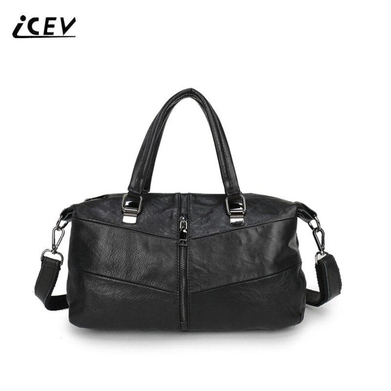 цены  ICEV New Genuine Leather Designer Handbags High Quality Cowhide Women Leather Handbags Patchwork Top Handle Bag Ladies Totes Sac