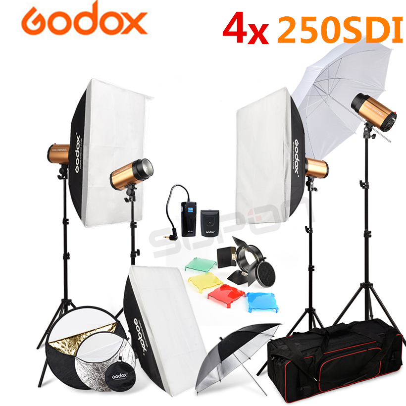 Godox 4x 250SDI Studio Flash Light + Light Stand + Carry Bag + 50*70cm Softbox + 5 in 1 Reflector Photography Lamp kit 110V-240V