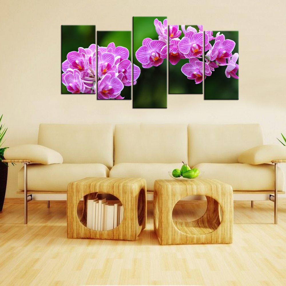 Contemporary Wall Decor Canvas Art Purple Orchid Flowers HD Pictures ...
