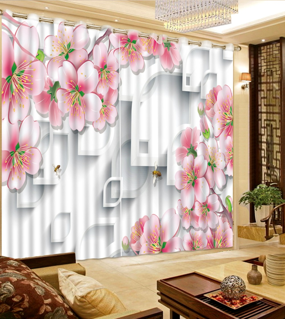 Home Bedroom Decoration Window Curtain Living Room 3D Curtains Pink Flowers Flower Pattern Fabric Curtains Printed Curtain