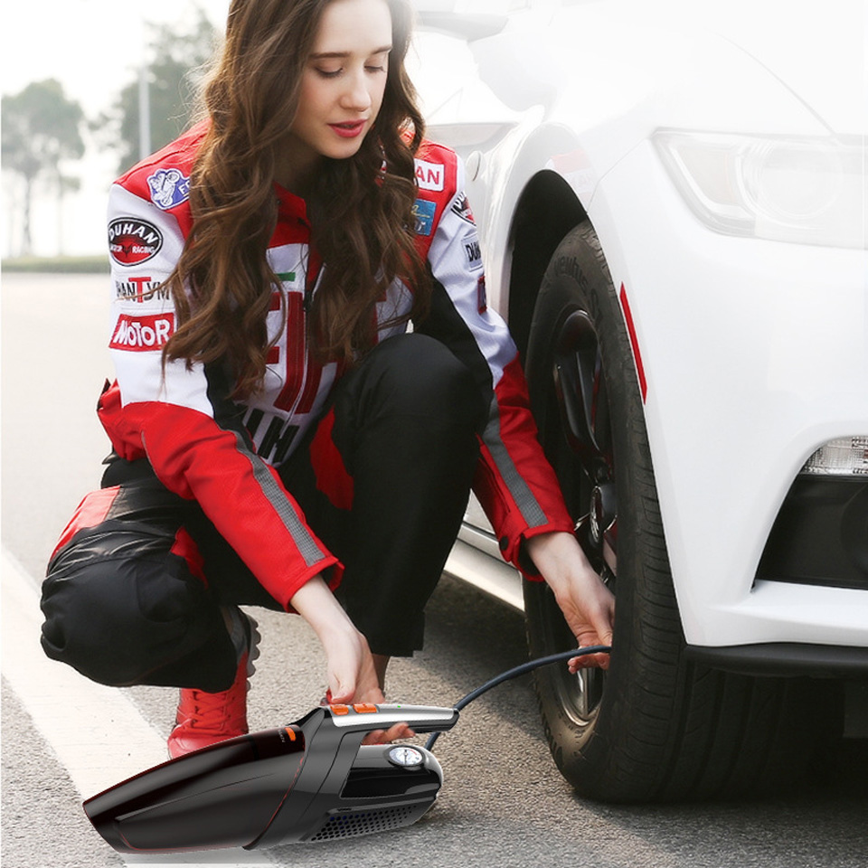 Vacuum Cleaner for Car 120W Portable Handheld Wet and Dry Dual Use Vacuum Cleaner with Tire Pressure Detection and Inflation in Vacuum Cleaner from Automobiles Motorcycles