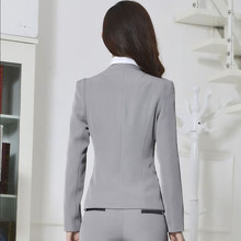 Winter business work wear women Pant Suits  formal long-sleeve Blazer with trousers OL fashion office ladies  plus size suit
