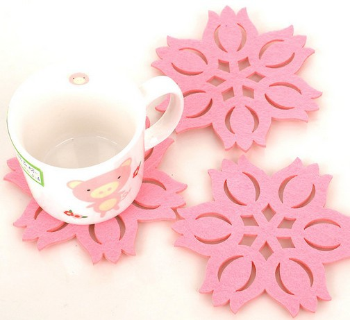 Free shipping creative household supplies lotus shape felt cute button coasters Cup mat 8pcs/lot 006002005