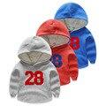 Roupas de inverno 2017 camisola criança meninos hoodies do velo das crianças esportes dos meninos do bebê criança carta ocasional camisolas