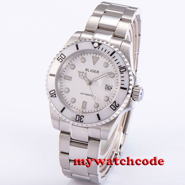 40mm bliger white dial date sapphire glass automatic ss mens wrist watch P19140mm bliger white dial date sapphire glass automatic ss mens wrist watch P191