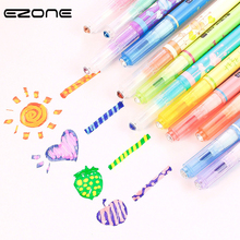 EZONE Candy Color Highlight Pen Double Headed Fluorescent Discoloration Mark For Child Painting Graffiti School Supply