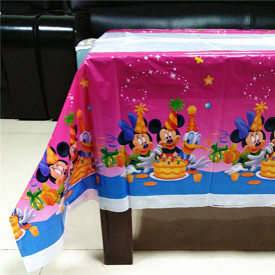 108*180cm party tablecloth supplies mickey minnie mouse party supplies baby shower kid birthday disposable decoration tablecover