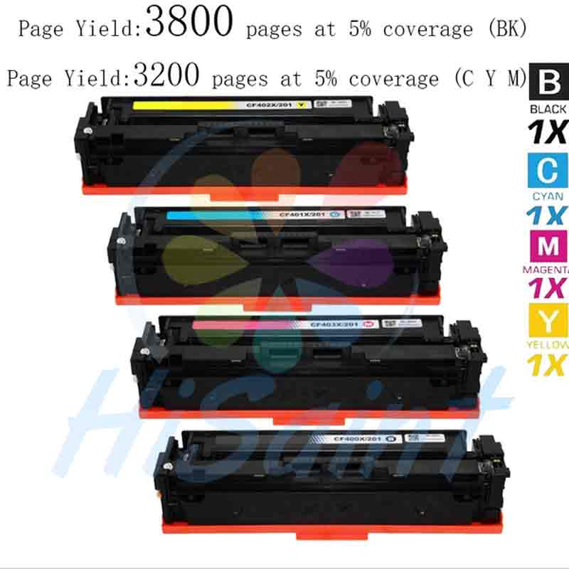 Hot 4pk Compatible for HP 201X - CF400X, CF401X, CF402X High Yield Toner Cartridge new for HP Color LaserJet Pro , printers sale hot sale magenta toner compatible for hp laserjet pro cf413x m452 dn dw nw m470 tri color 5000 pages free shipping