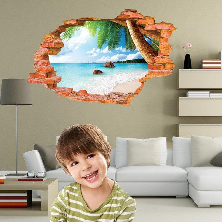 1 шт. 3D Sea детские украшения живут кроватями DIY Съемный Наклейки на стену Спальня Домашний декор дома декоративные Декор Ba