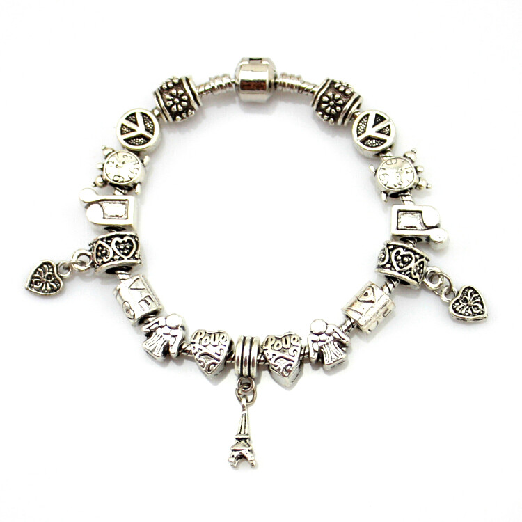 MPB Hader Antike Silber Farbe Charme Armbänder & Armreifen Murano Glas Europäischen Charm Perlen Armbänder Sommer Stil