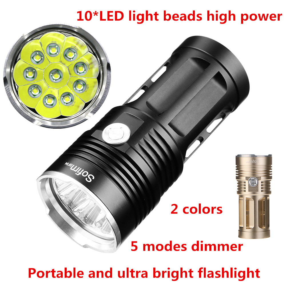 SF34-10T 10000lm Cree 10*LED light beads Ultra Bright Flashlight Portable High Power LED Flashlight Torcia Torch 5 Files IPX8 scuba dive light