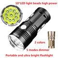 10T6 2000 люмен 10 * CREE XML T6 светодиодный фонарик  ультра яркий портативный фонарик  5 режимов  мощный светодиодный фонарик для кемпинга  охоты