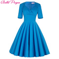 Azul media manga de las mujeres robe dress retro vintage 50 s 60 s columpio verano oficina vestidos de fiesta elegante túnica femenina dress vestidos