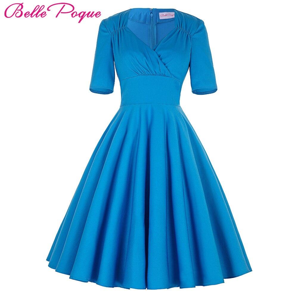 blue half sleeve women dress retro robe vintage 50s 60s swing summer office party dresses. Black Bedroom Furniture Sets. Home Design Ideas