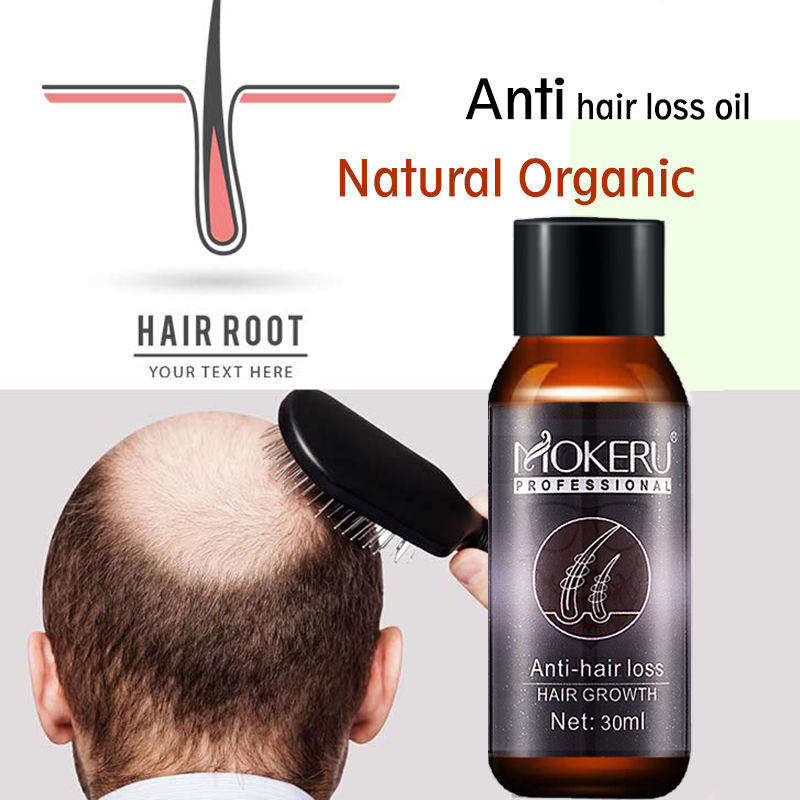 Mokeru 1pc 30ml Natural Organic Anti Hair Loss Products Baldness Treatment Hair Growth Agent Herbal Hair Regrowth Oil For Man