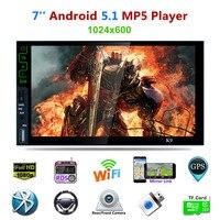 Universal 7 zoll Quad-core Android 5.1 Auto Mp5 Bluetooth HD 3G Wifi GPS Navigation Spiegel Link BIN/FM/RDS Radio Tuner